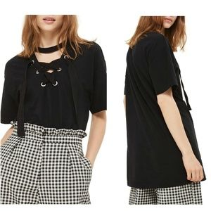 Topshop Lace-Up Choker Tunic Top